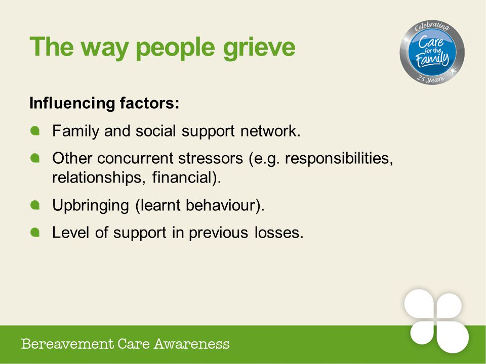 The way people grieve Influencing factors: