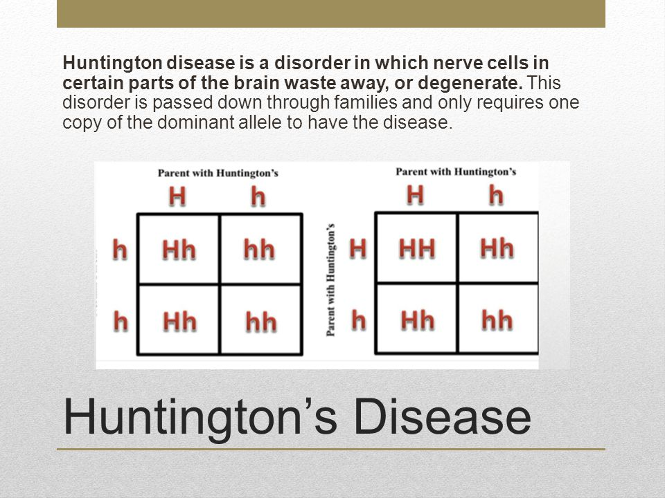 Huntington disease is a disorder in which nerve cells in certain parts of the brain waste away, or degenerate. This disorder is passed down through families and only requires one copy of the dominant allele to have the disease.