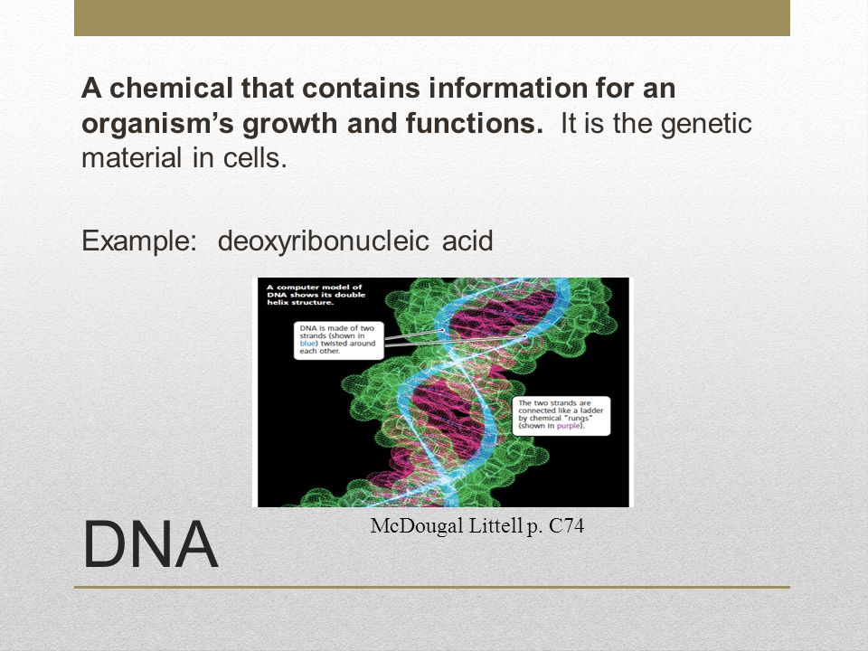 A chemical that contains information for an organism's growth and functions. It is the genetic material in cells. Example: deoxyribonucleic acid