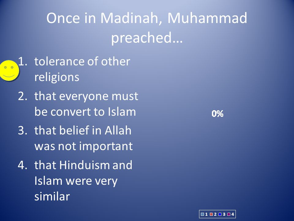 Once in Madinah, Muhammad preached…