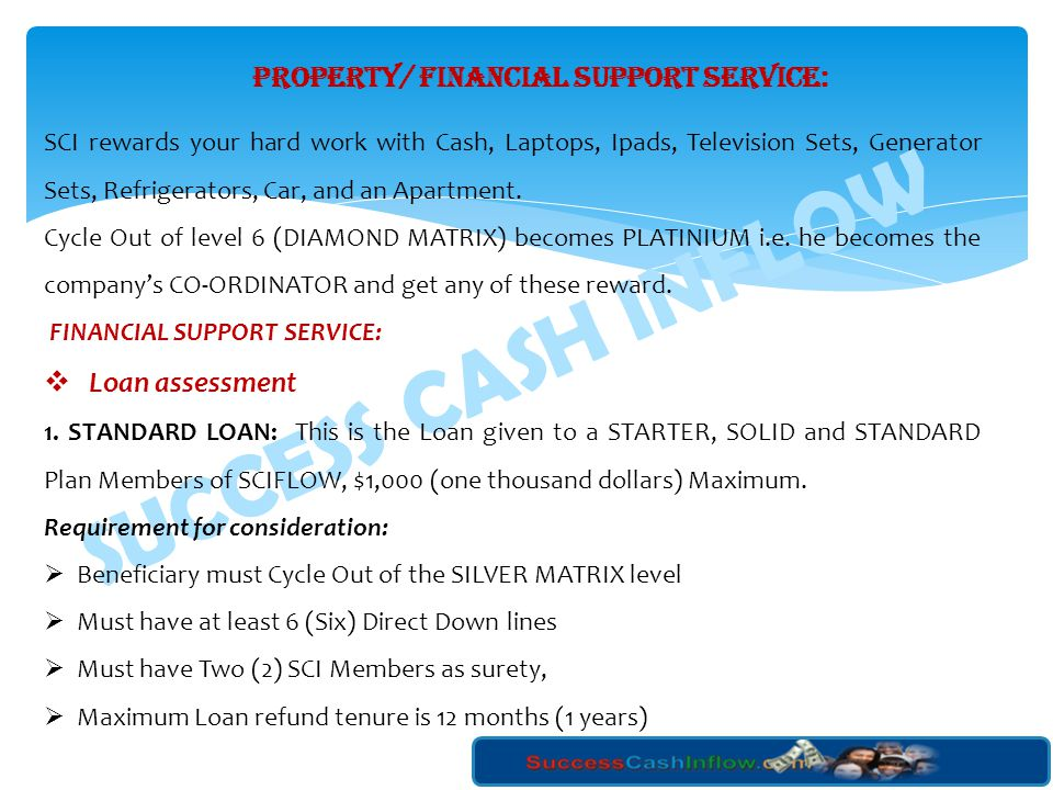 PROPERTY/ FINANCIAL SUPPORT SERVICE: