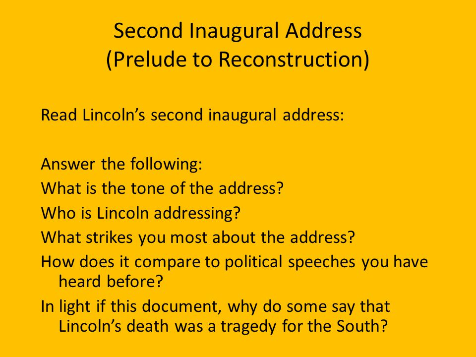 Second Inaugural Address (Prelude to Reconstruction)