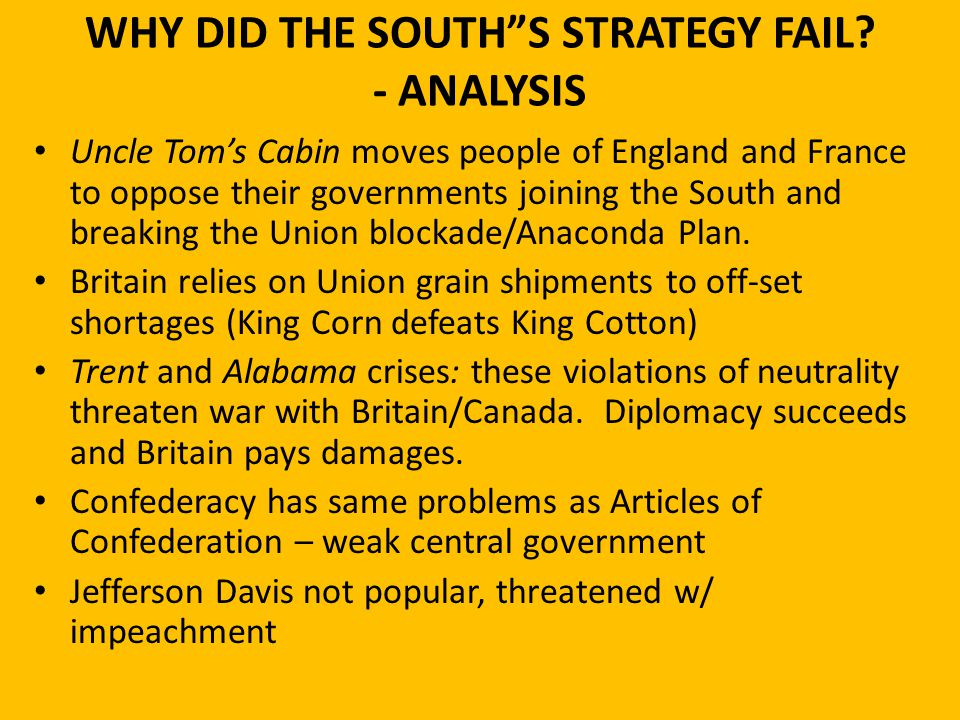 WHY DID THE SOUTH S STRATEGY FAIL - ANALYSIS
