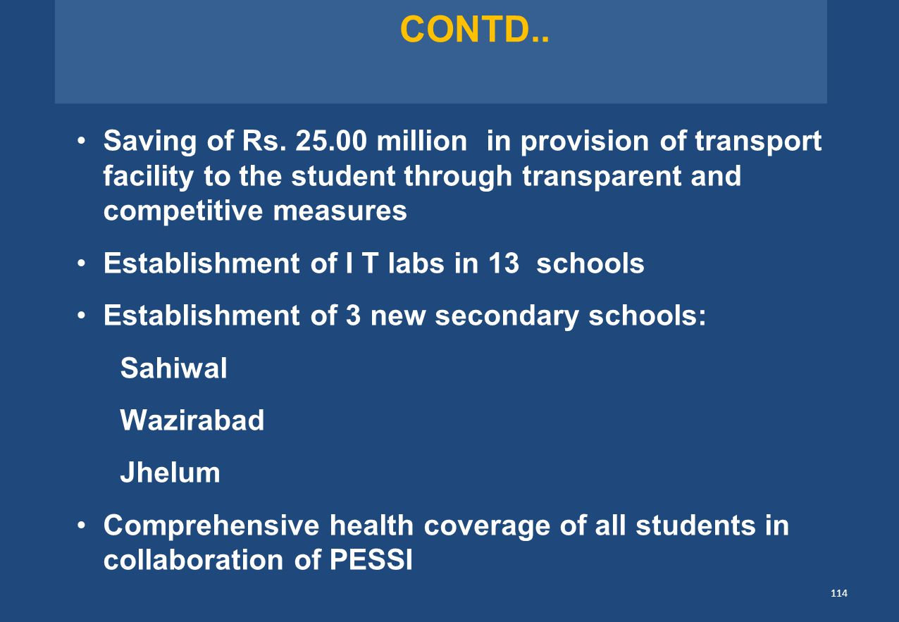 CONTD.. Saving of Rs. 25.00 million in provision of transport facility to the student through transparent and competitive measures.