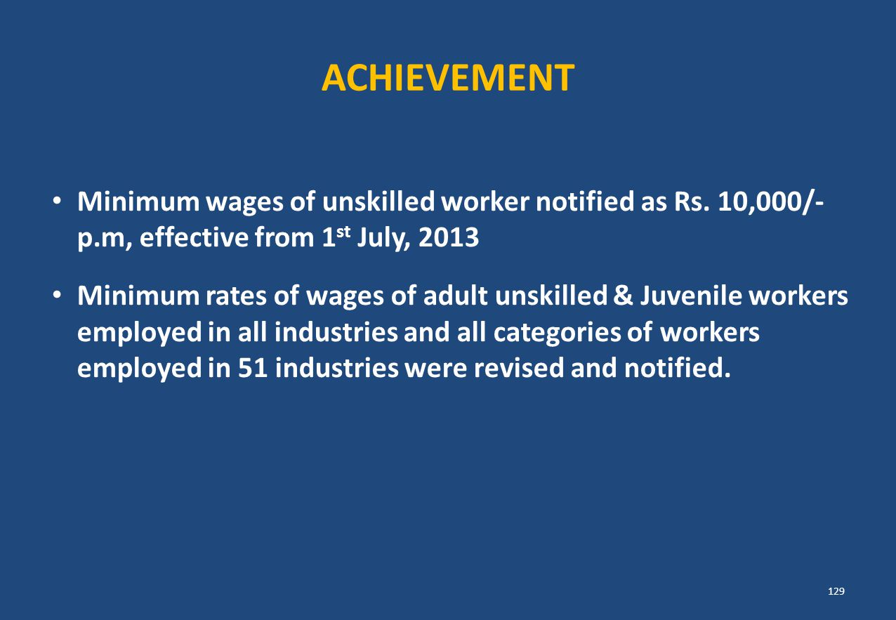 ACHIEVEMENT Minimum wages of unskilled worker notified as Rs. 10,000/- p.m, effective from 1st July, 2013.