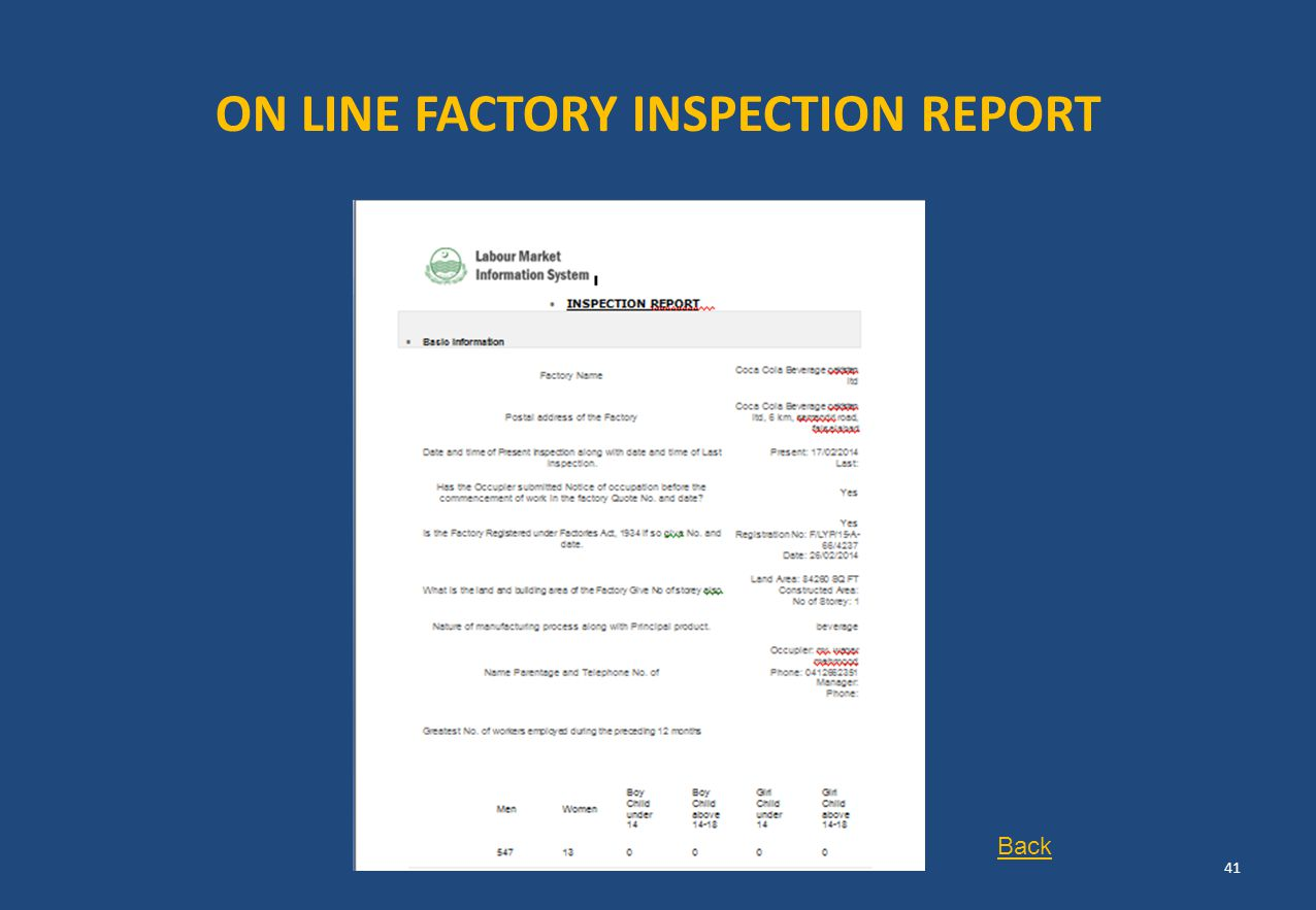 ON LINE FACTORY INSPECTION REPORT