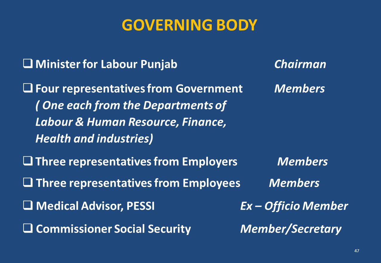 GOVERNING BODY Minister for Labour Punjab Chairman