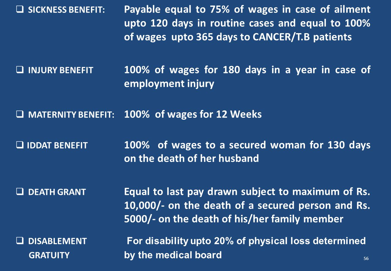 SICKNESS BENEFIT:. Payable equal to 75% of wages in case of ailment