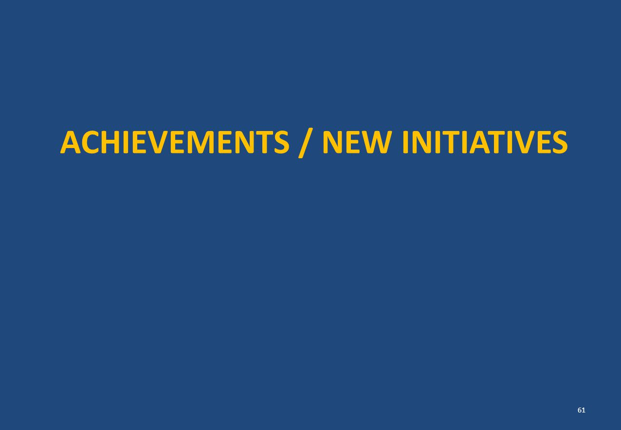 ACHIEVEMENTS / NEW INITIATIVES