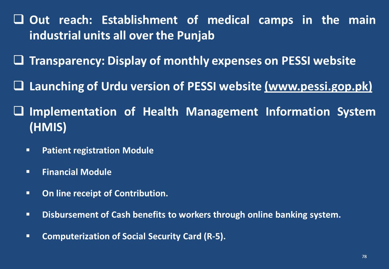 Transparency: Display of monthly expenses on PESSI website