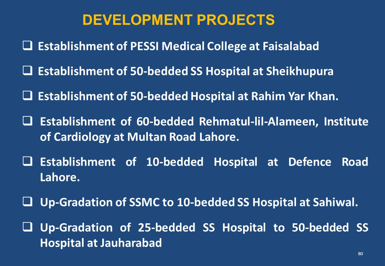 DEVELOPMENT PROJECTS Establishment of PESSI Medical College at Faisalabad. Establishment of 50-bedded SS Hospital at Sheikhupura.