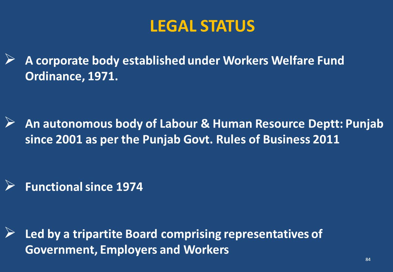 LEGAL STATUS A corporate body established under Workers Welfare Fund Ordinance, 1971.