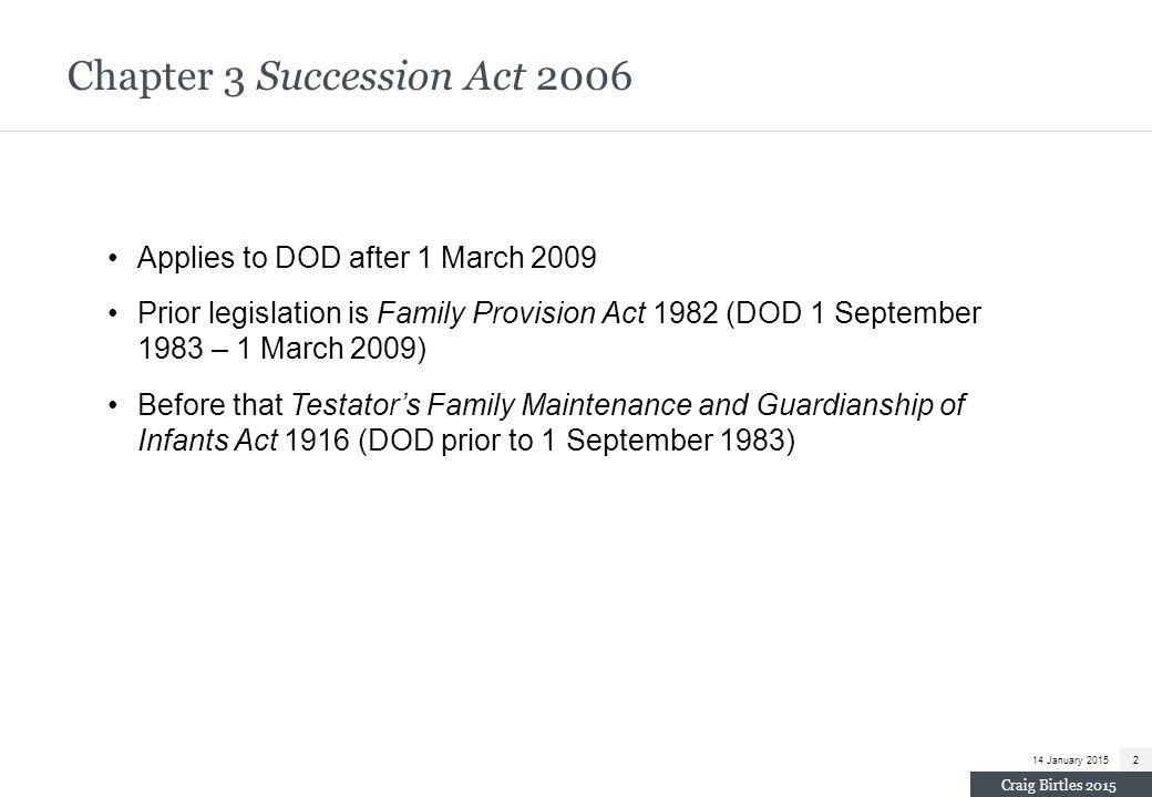Chapter 3 Succession Act 2006