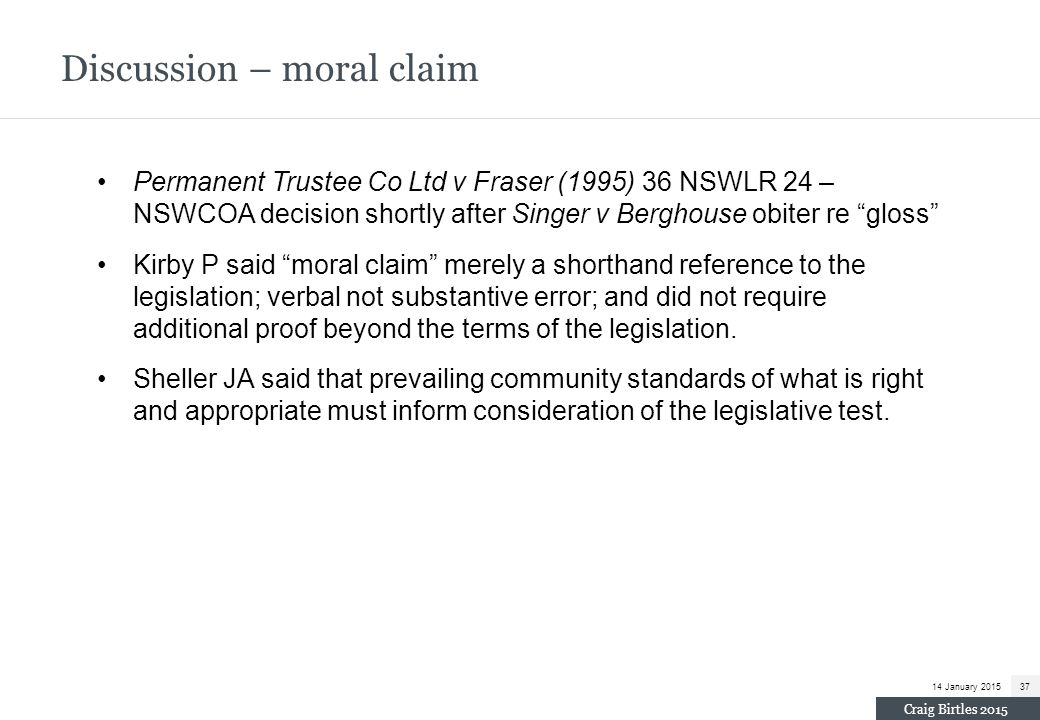 Discussion – moral claim