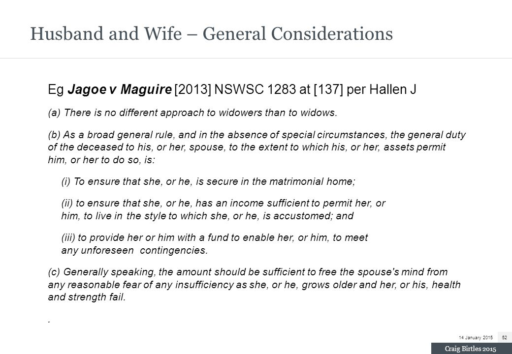 Husband and Wife – General Considerations