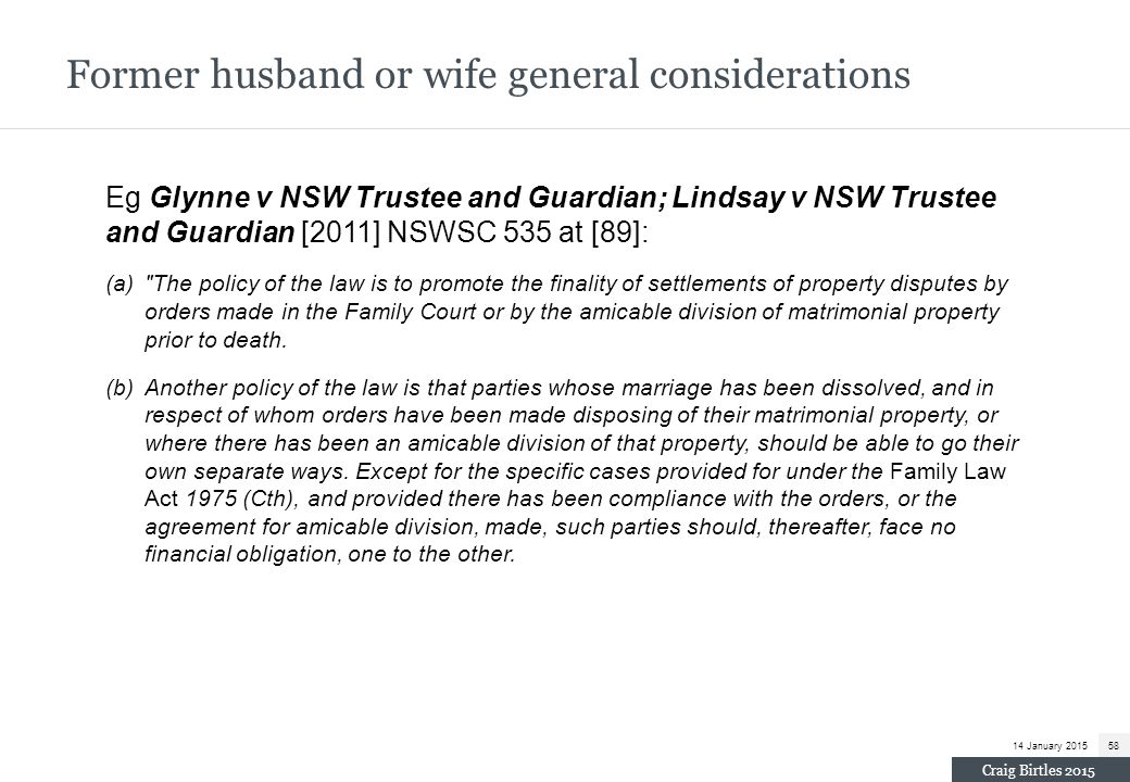 Former husband or wife general considerations
