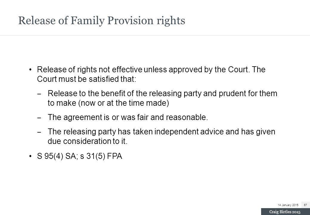 Release of Family Provision rights