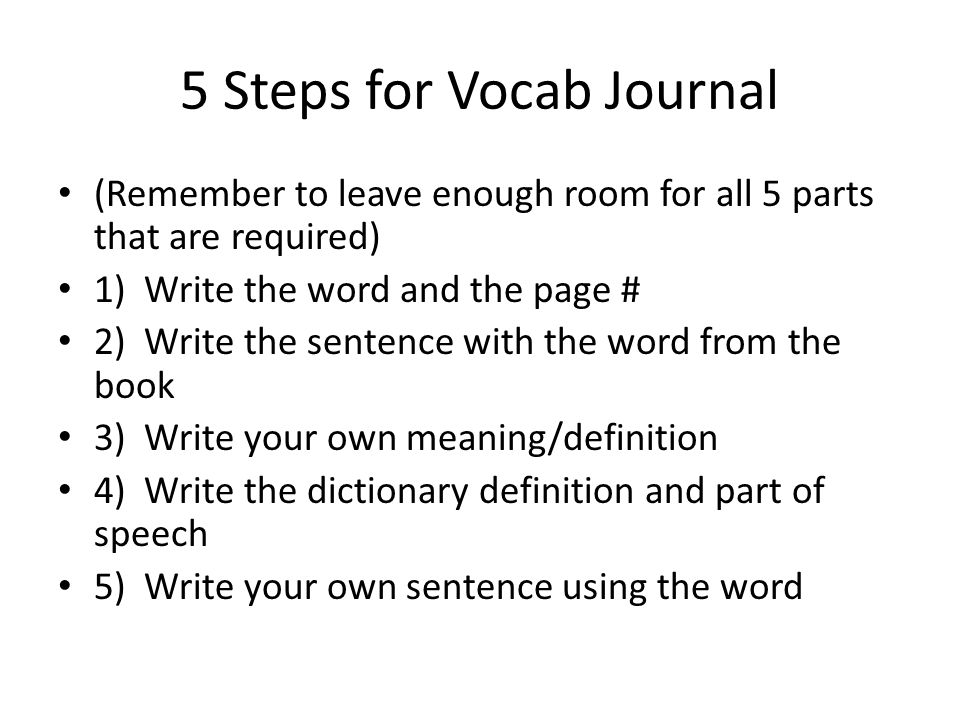 5 Steps for Vocab Journal