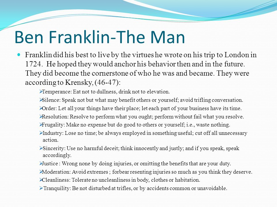 Ben Franklin-The Man