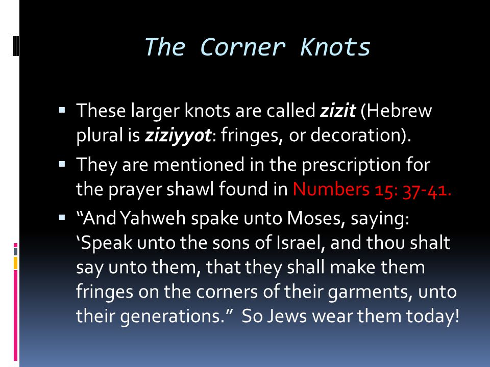 The Corner Knots These larger knots are called zizit (Hebrew plural is ziziyyot: fringes, or decoration).