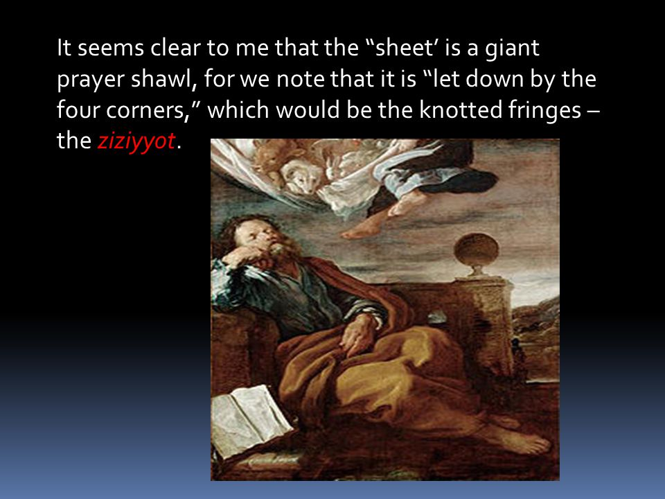 It seems clear to me that the sheet' is a giant prayer shawl, for we note that it is let down by the four corners, which would be the knotted fringes – the ziziyyot.