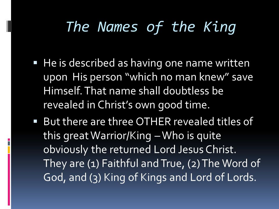 The Names of the King