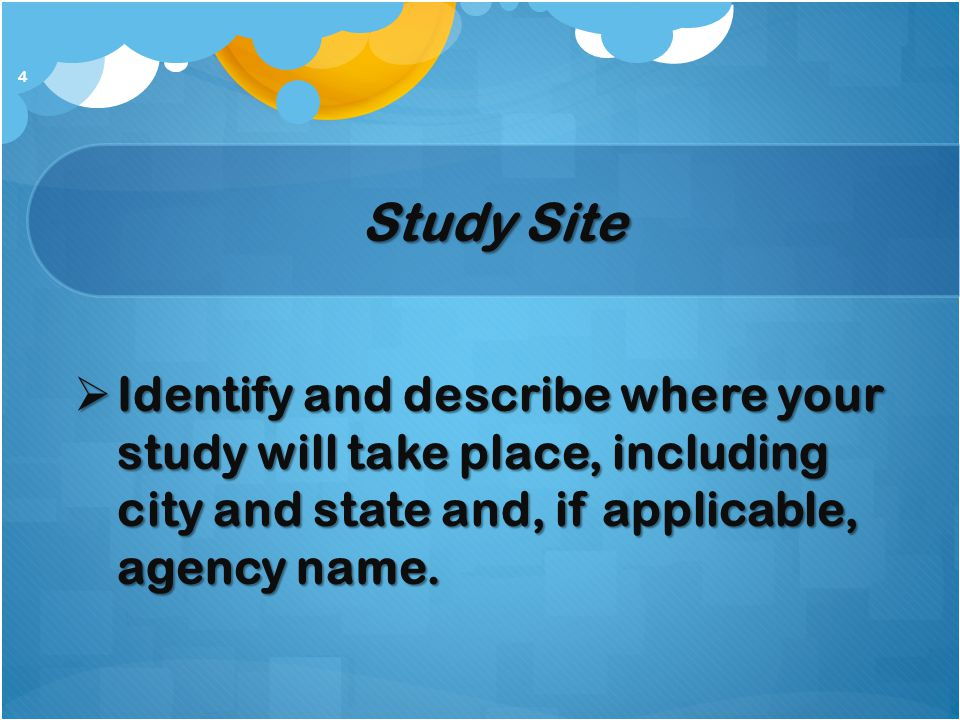 Study Site Identify and describe where your study will take place, including city and state and, if applicable, agency name.