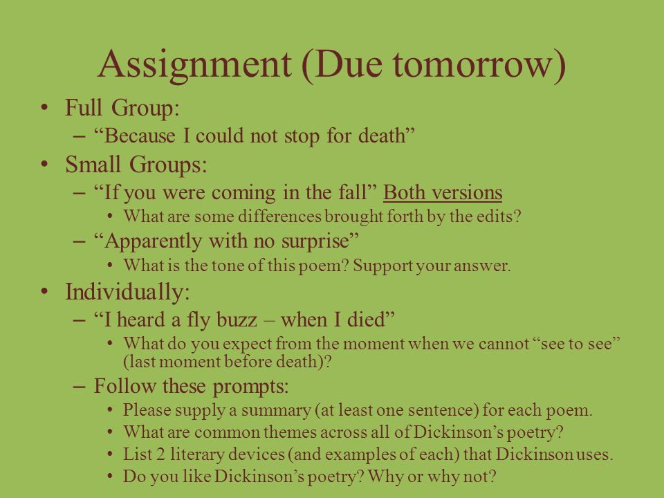 Assignment (Due tomorrow)