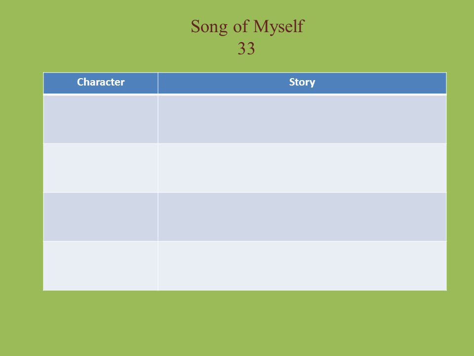 Song of Myself 33 Character Story