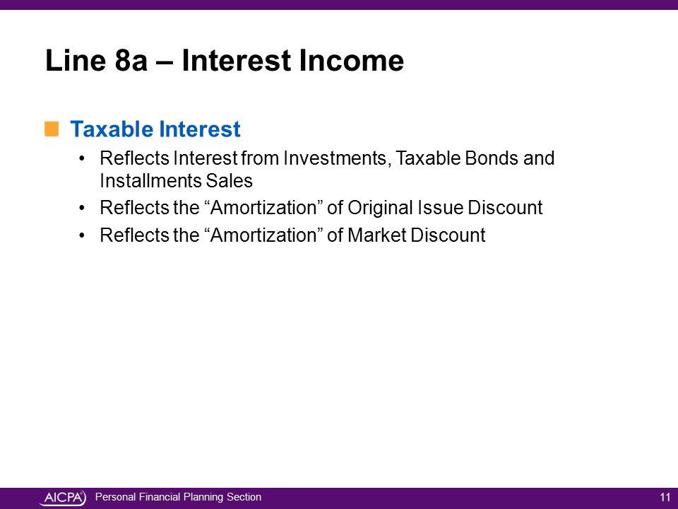 Line 8a – Interest Income