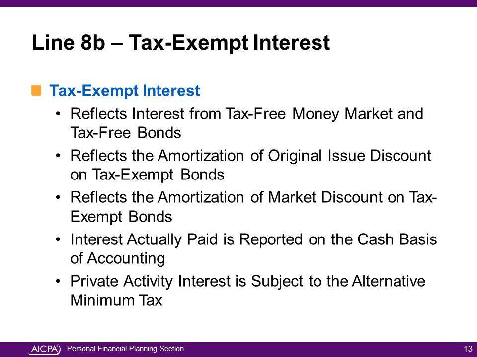 Line 8b – Tax-Exempt Interest