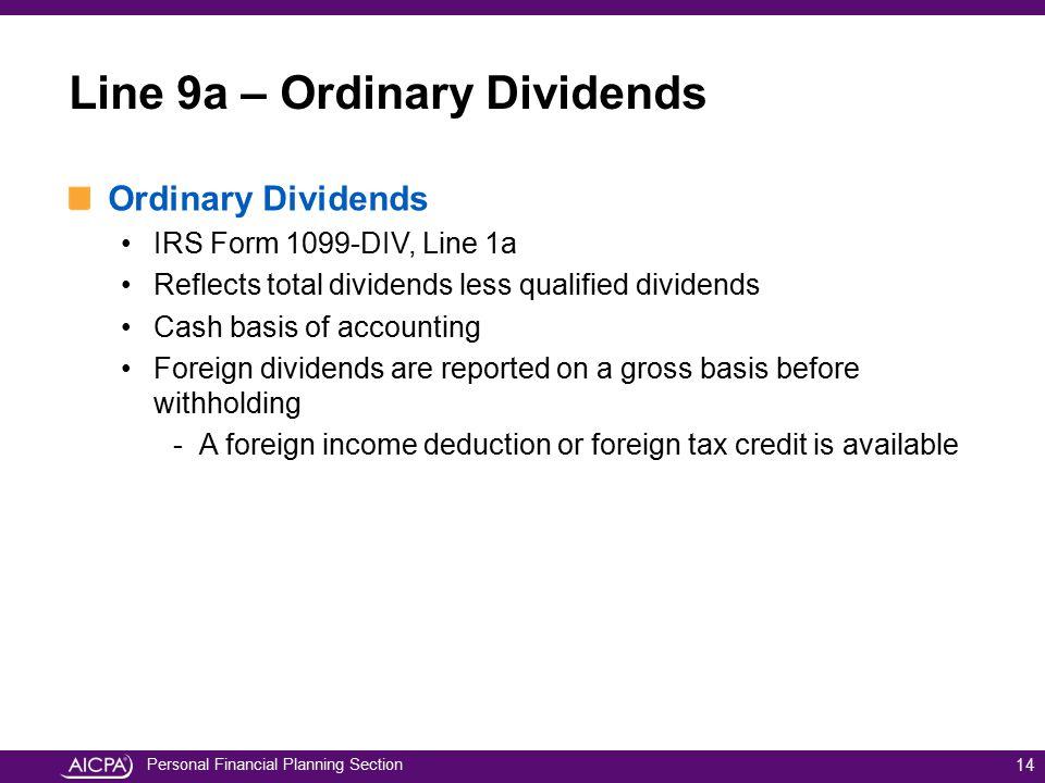 Line 9a – Ordinary Dividends