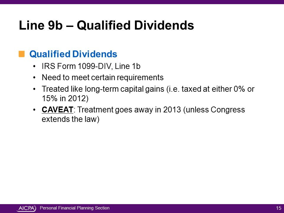 Line 9b – Qualified Dividends