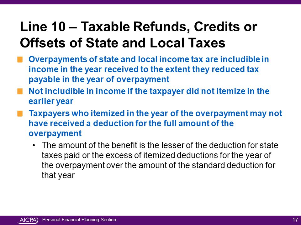 Line 10 – Taxable Refunds, Credits or Offsets of State and Local Taxes