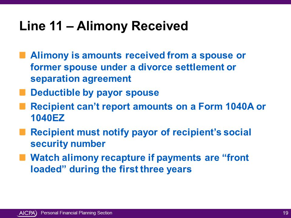 Line 11 – Alimony Received