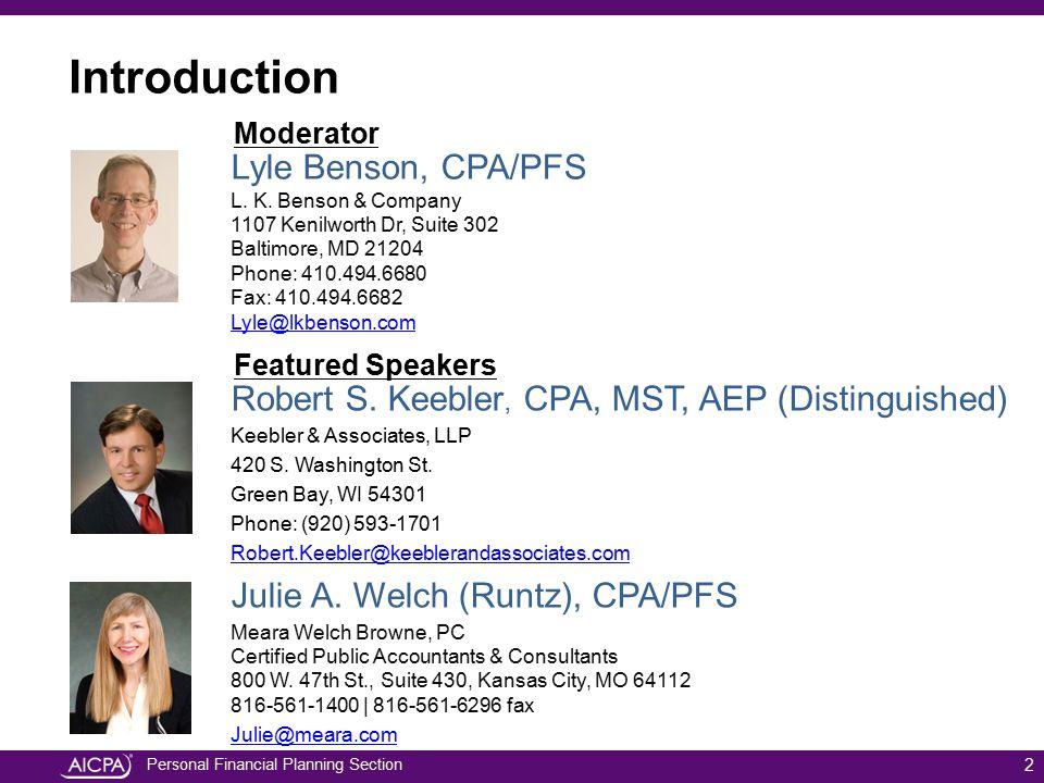 Introduction Lyle Benson, CPA/PFS