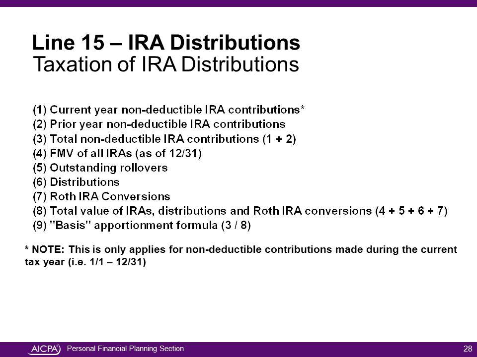 Line 15 – IRA Distributions Taxation of IRA Distributions