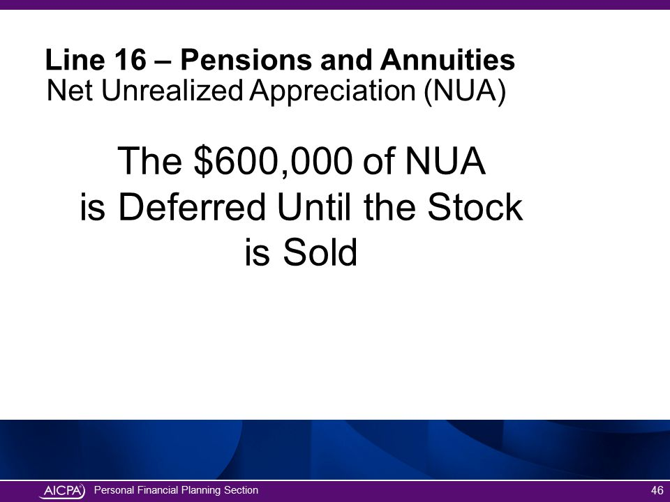 The $600,000 of NUA is Deferred Until the Stock is Sold