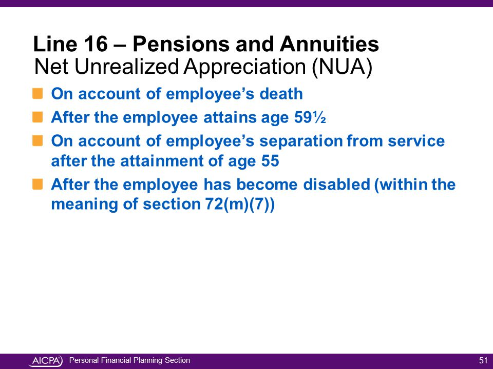 Line 16 – Pensions and Annuities Net Unrealized Appreciation (NUA)