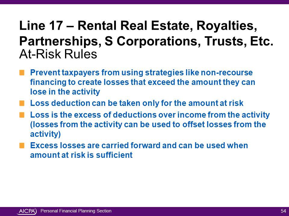 Line 17 – Rental Real Estate, Royalties, Partnerships, S Corporations, Trusts, Etc.