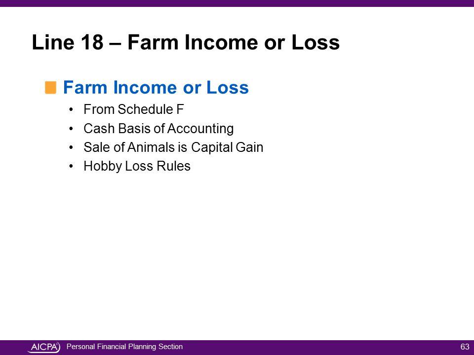 Line 18 – Farm Income or Loss