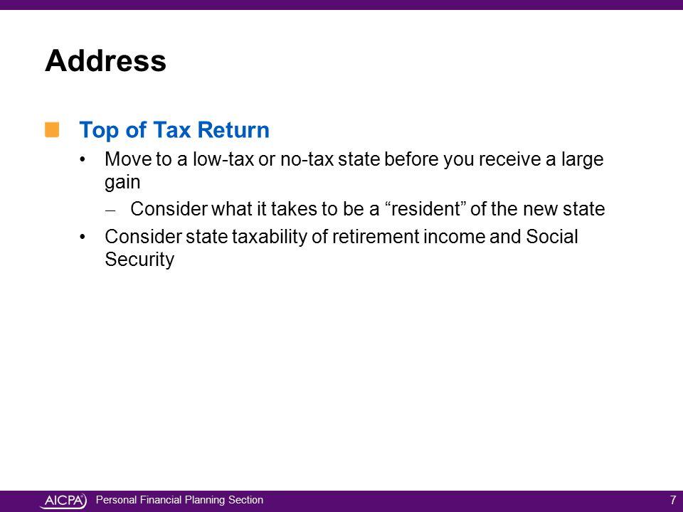 Address Top of Tax Return