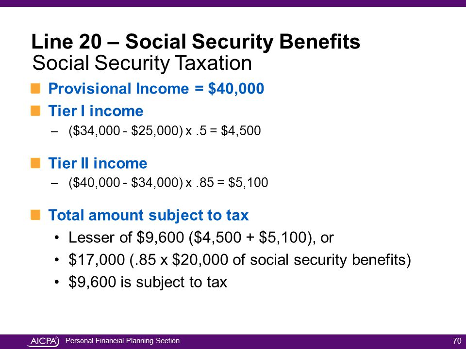 Line 20 – Social Security Benefits Social Security Taxation