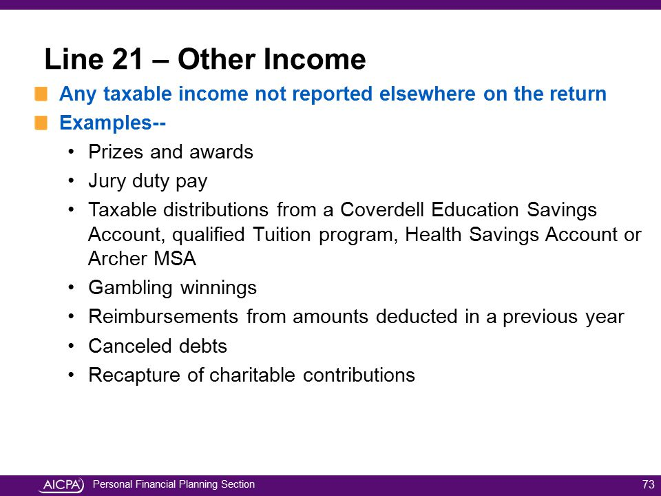 Line 21 – Other Income Any taxable income not reported elsewhere on the return. Examples-- Prizes and awards.