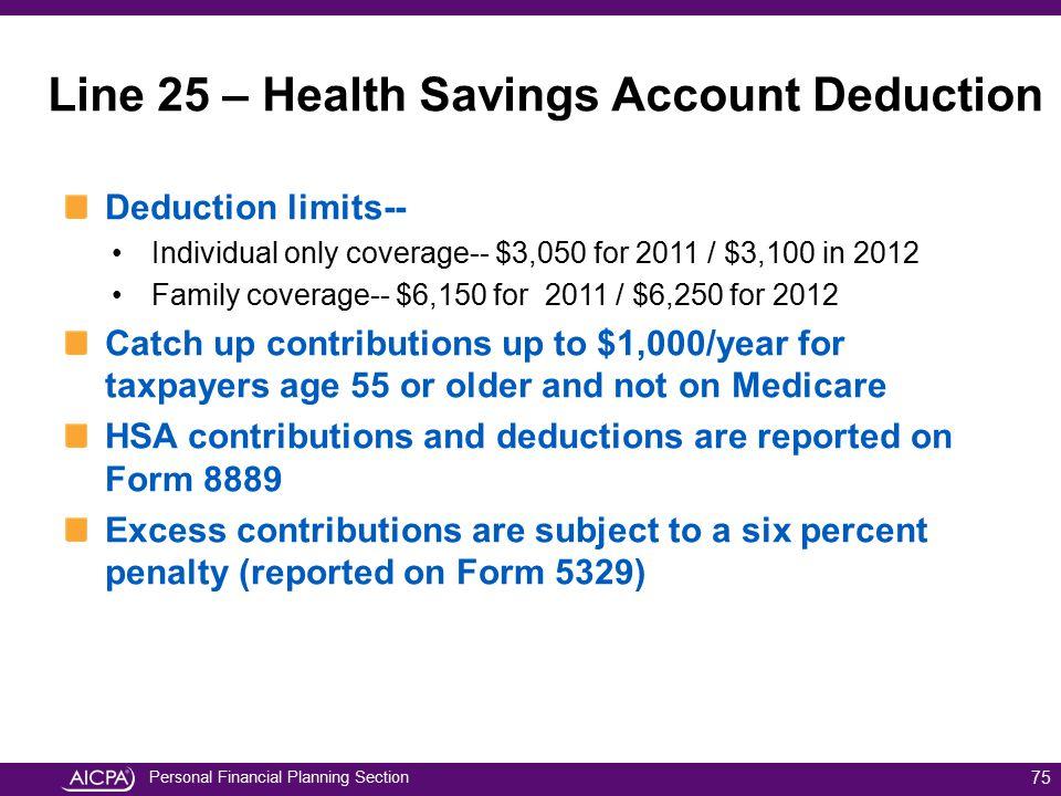 Line 25 – Health Savings Account Deduction