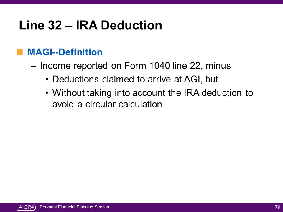 Line 32 – IRA Deduction MAGI--Definition