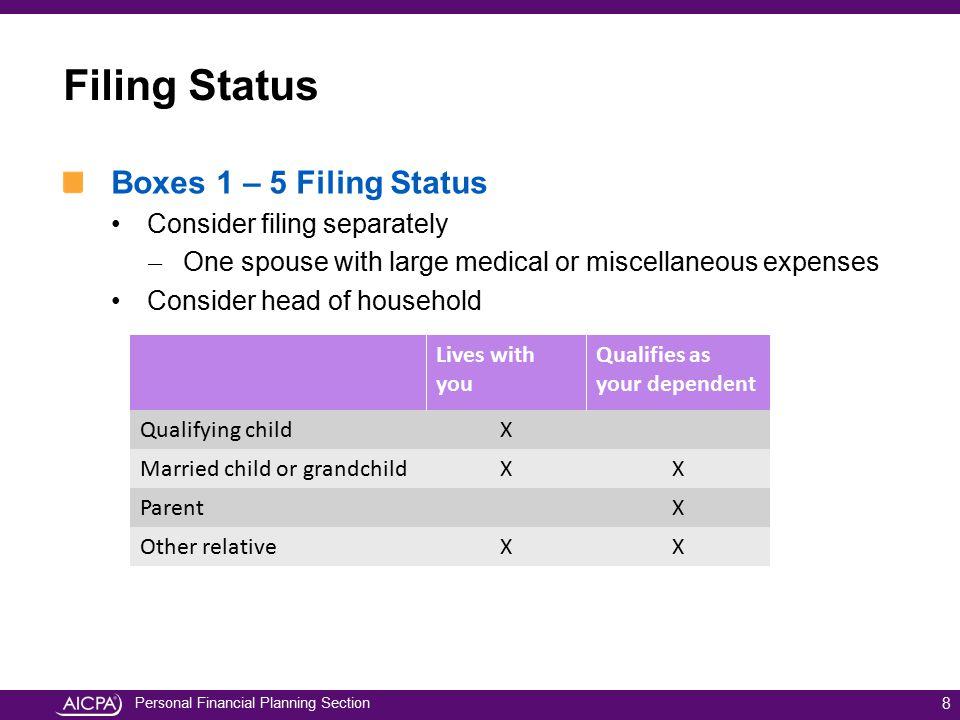 Filing Status Boxes 1 – 5 Filing Status Consider filing separately