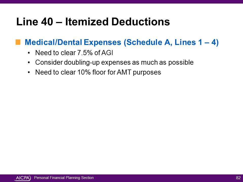 Line 40 – Itemized Deductions