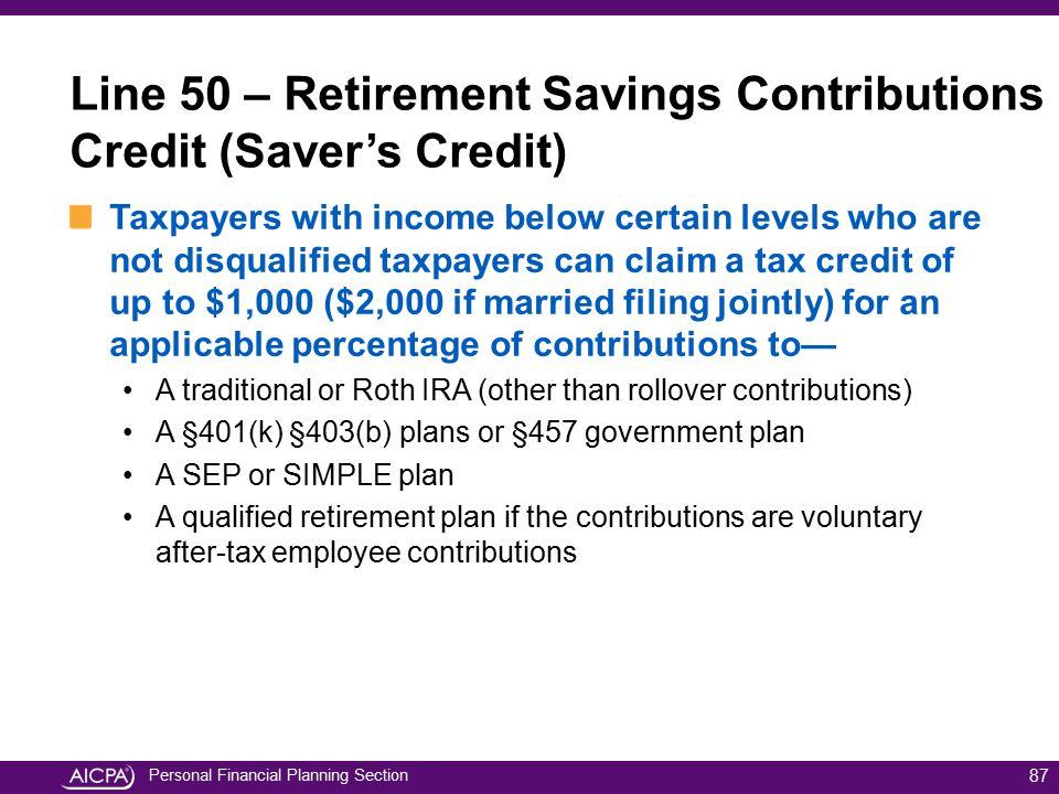Line 50 – Retirement Savings Contributions Credit (Saver's Credit)
