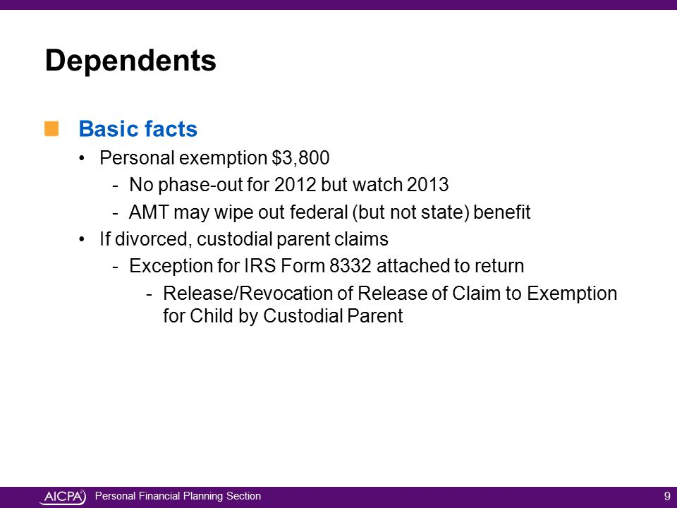 Dependents Basic facts Personal exemption $3,800